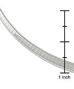 14k White Gold 5.4 mm Domed Omega Necklace