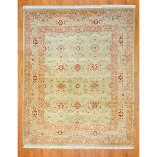 Indo Hand knotted Light Green/ Ivory Oushak Wool Rug (8 x 10