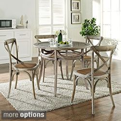 Gear Rustic Grey Country Wooden Chair and Table Dining Set Today $919