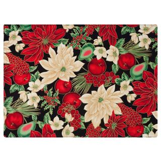 Black Placemat by Rose Tree Holiday Blooms Placemats (Set of 6