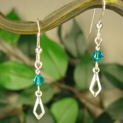 Jewelry by Dawn Teal Crystal With Open Arrow Sterling Silver Earrings