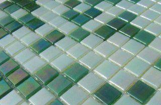 PERLMUTT GLASMOSAIK MOSAIK Grün Weiß Mix 15x15mm 1Matte