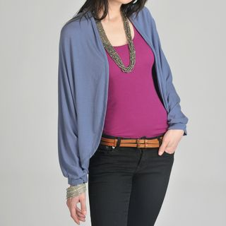24/7 Comfort Apparel Womens Blue Dolman Sleeve Cardigan