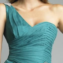 Issue New York Womens Teal Pleated One shoulder Evening Gown