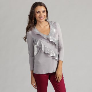 Think Knit Contemporay Knit Top with Lace and Satin Embellishment