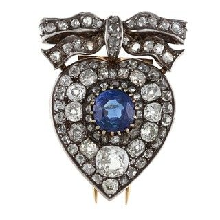 Silver/ Gold Sapphire and 4 1/2ct TDW Diamond 1800s Brooch (K L, I1