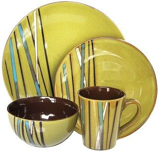 American Atelier Stix Green 16 piece Dinnerware Set