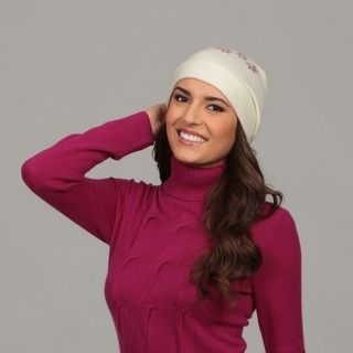 Portolano Womens Cashmere Flower Detail Hat