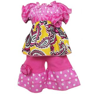 AnnLoren 2 piece Smocked Paisley and Polka Dot Outfit fits American