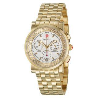 Michele Womens Yellow Gold Steel Sport Sail Diamond Watch
