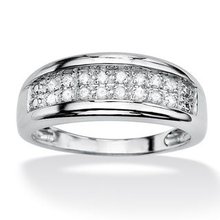 Isabella Collection Platinum over Silver Pave Diamond Ring