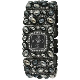 Kenneth Jay Lane Womens Cabochon Black Stone Link Watch