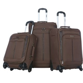 Olympia Corea 3 piece Black PVC Expandable Spinner Luggage Set
