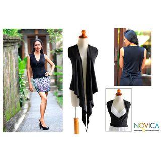 Womens Rayon Jersey Versatile Black Wraparound Top (Indonesia