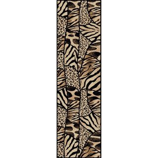 Virginia Animal Print Black/ Beige Olefin Rug (22 x 77)