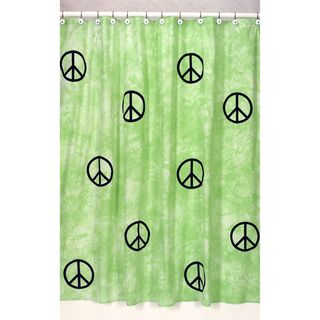 Lime Groovy Peace Sign Tie Dye Shower Curtain