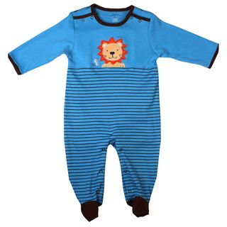 Bon Bebe Newborn Boys Light Blue Lion Coverall