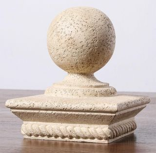 Weathered Sphere Rope base Polystone Post Cap