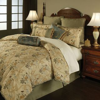 French Brocade Floral 4 piece Comforter Set