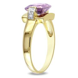 Miadora 10k Yellow Gold Square Amethyst and Diamond Accent Ring