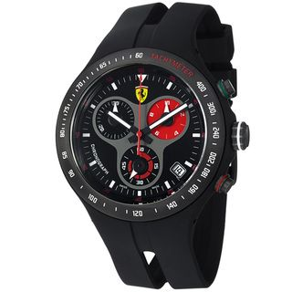 Ferrari Mens Jumbo Black Dial Black Strap Chronograph Watch