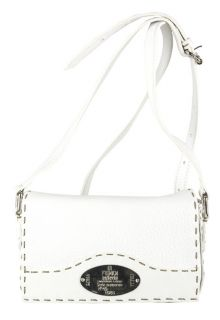 Fendi Mini White Leather Metal Logo Shoulder Bag