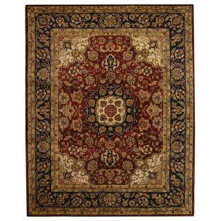 Handmade Classic Kerman Burgundy/ Navy Wool Rug (83 x 11