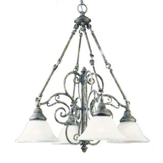 Antique Pewter 4 light Frosted Glass Chandelier