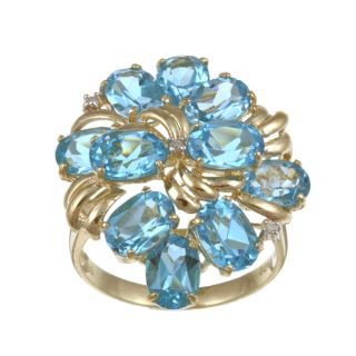 14k Yellow Gold Blue Topaz and 0.02ct TDW Diamond Ring