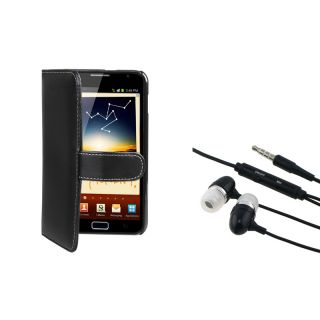 Black Leather Wallet Case/ Headset for Samsung© Galaxy Note N7000