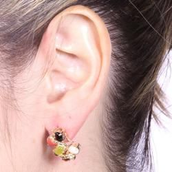 Angelina DAndrea Goldtone Multi gemstone and Crystal Stud Earrings
