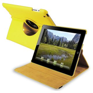 Yellow 360 degree Swivel Leather Case for Apple iPad 2