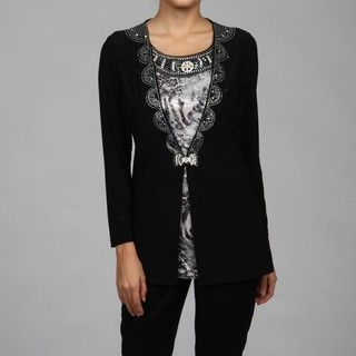 Kokomo Womens Black/ White Rhinestone Detail Top