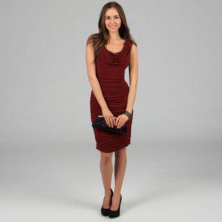 KM Karen Miller Womens Red Allover Ruched Bodycon Dress