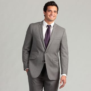 Ben Sherman Mens Light Grey Striped Slim Fit Wool Suit