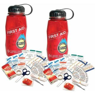 Lifeline Waterbottles BPA free First Aid in a Bottle Kits (Pack of 2