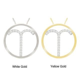 10k Gold White Zircon Astrological Sign Necklace