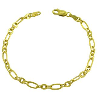 14k Yellow Gold Polished Fancy Alternate Flat Link Bracelet
