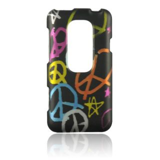 Luxmo Handmade Peace Sign Rubber Coated Case for HTC EVO 3D