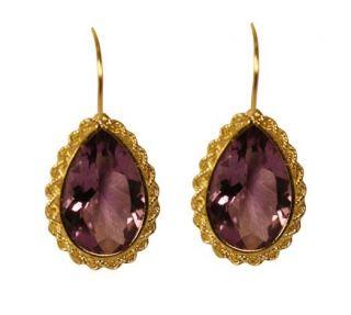 14k Yellow Gold Pear cut Amethyst Fish Hook Earrings