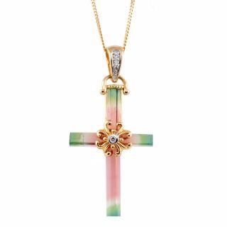 Michael Valitutti 14k Gold Multicolor Tourmaline and Diamond Cross