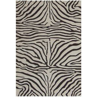 Hand tufted Brown Zebra Wool Rug (89 x 13)