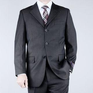 Carlo Lusso Mens Textured Black 3 button Suit