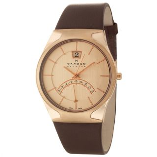 Skagen Mens Leather Stainless Steel Rose Gold Plated Brown Leather