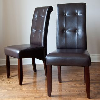 Essex Dark Brown Leatherette Tufted Parson Chairs (Set of 2