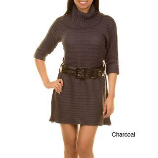 Stanzino Womens Cowl Neck Belted Sweater Dress