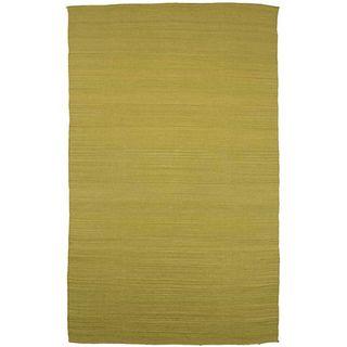 Flat Weave Green Wool Rug (4 x 6)