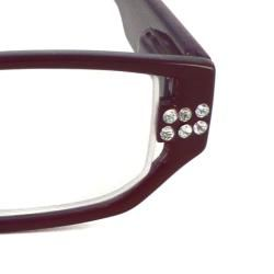 Urban Eyes Womens Crystal Burgundy Reading Glasses