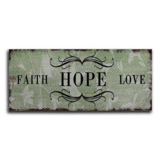 Blechschild Faith Hope Love Shabby Nostalgie Schild Metallschild