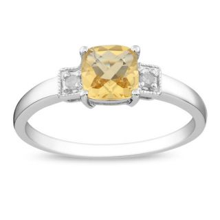 Sterling Silver Citrine and Diamond Fashion Ring